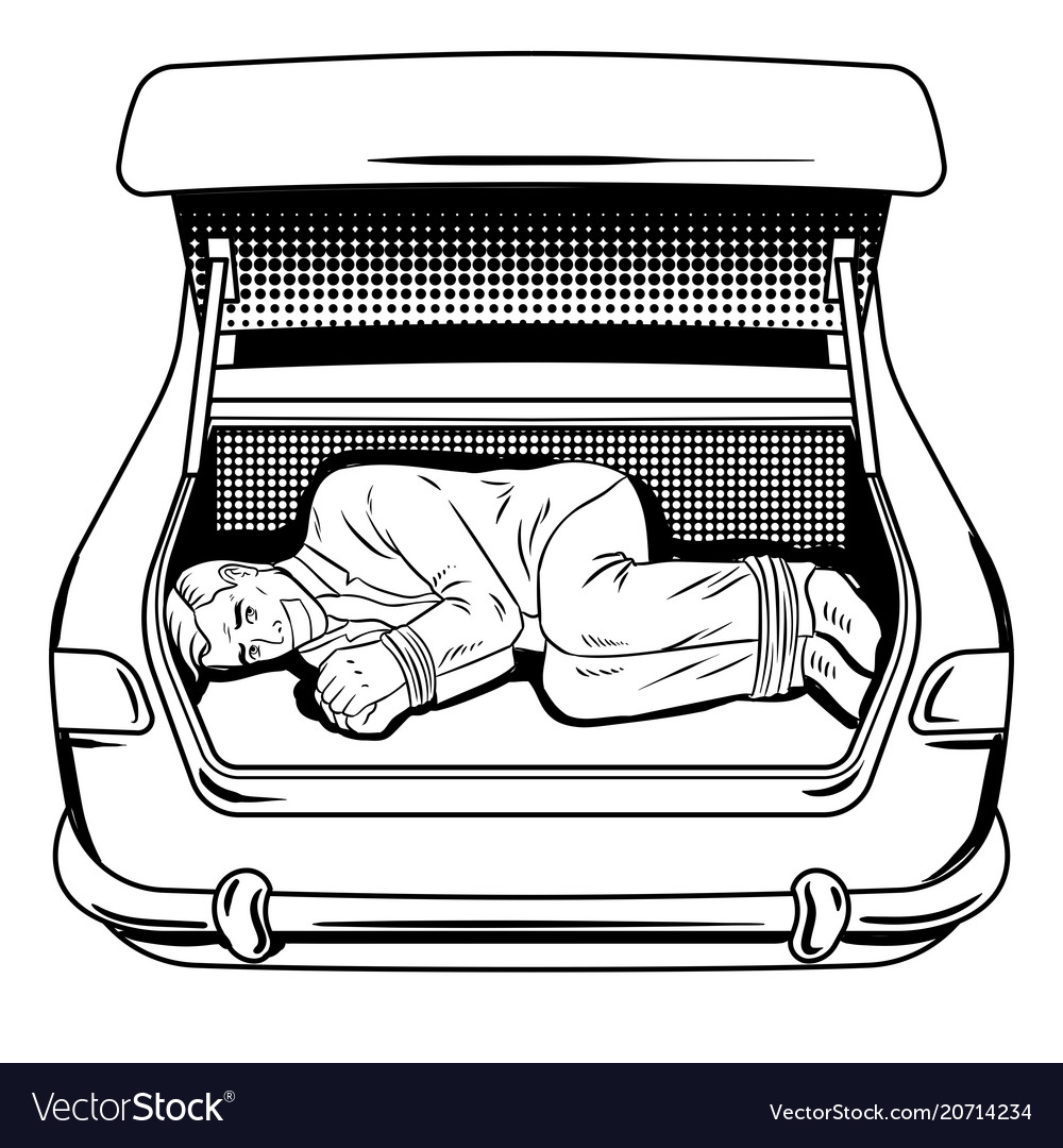 Kidnapped man in car trunk coloring book.