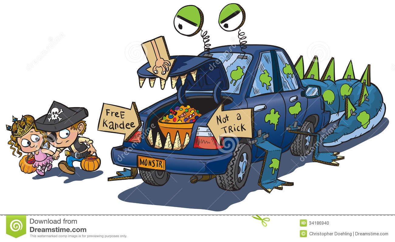 Two Kids Trunk Or Treat On Halloween Clip Art Stock Vector.