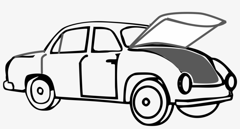 Car With Open Trunk Graphic Black And White Stock.