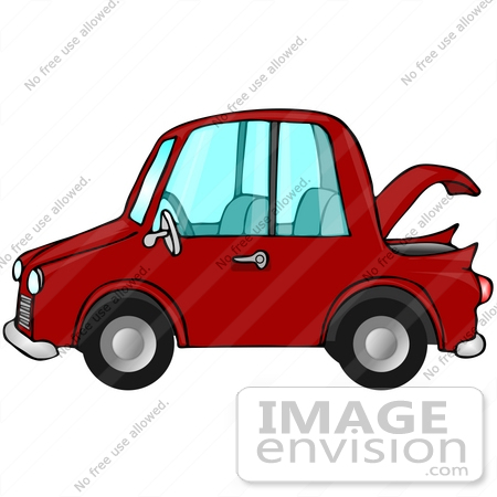 Clip Art Graphic of a Red Compact Car With the Trunk Open.