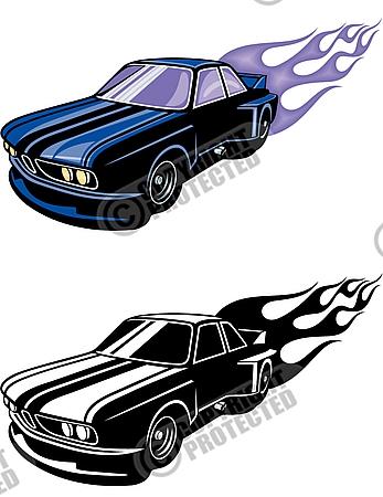 Hot Rod Flames tuning car Vector Clipart Download.