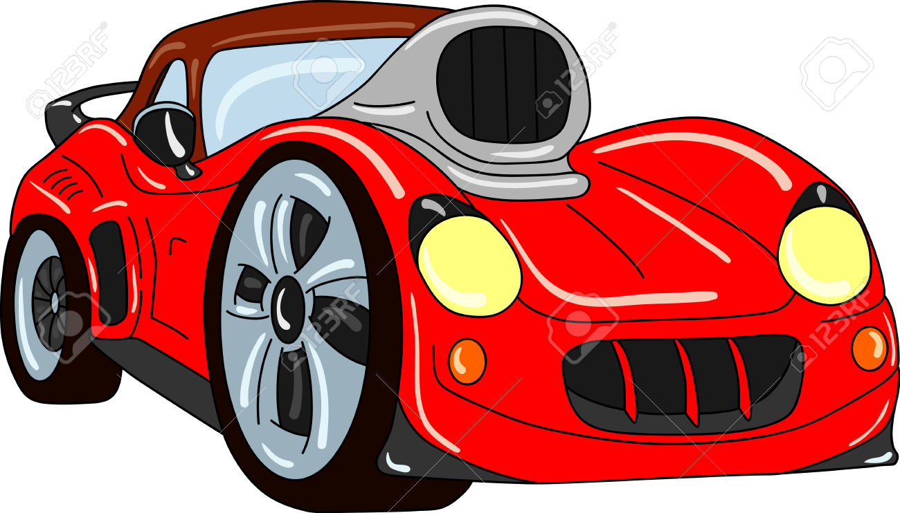 Sport Car Tuning Isolated On Background Royalty Free Cliparts.