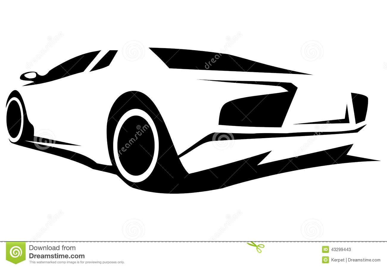 Silhouette Tuning Car Stock Vector.