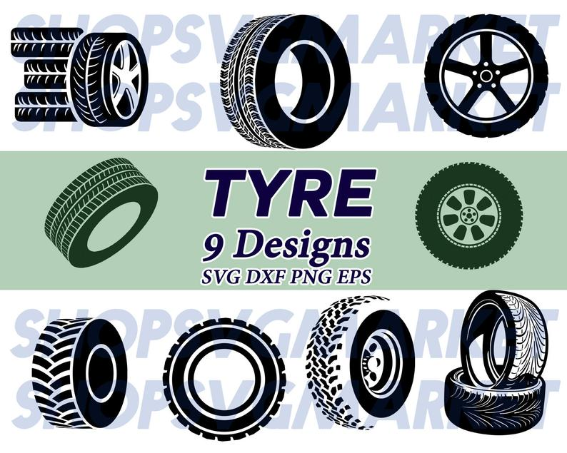tyre svg, tire svg, wheel svg, car svg, vehicle svg, clipart, silhouette,  cut file, iron on, decal file, clip art, png, dxf.