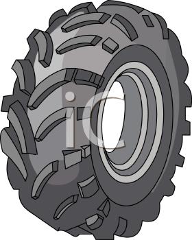 Royalty Free Clip Art Image: Heavy Tread Car Tire.