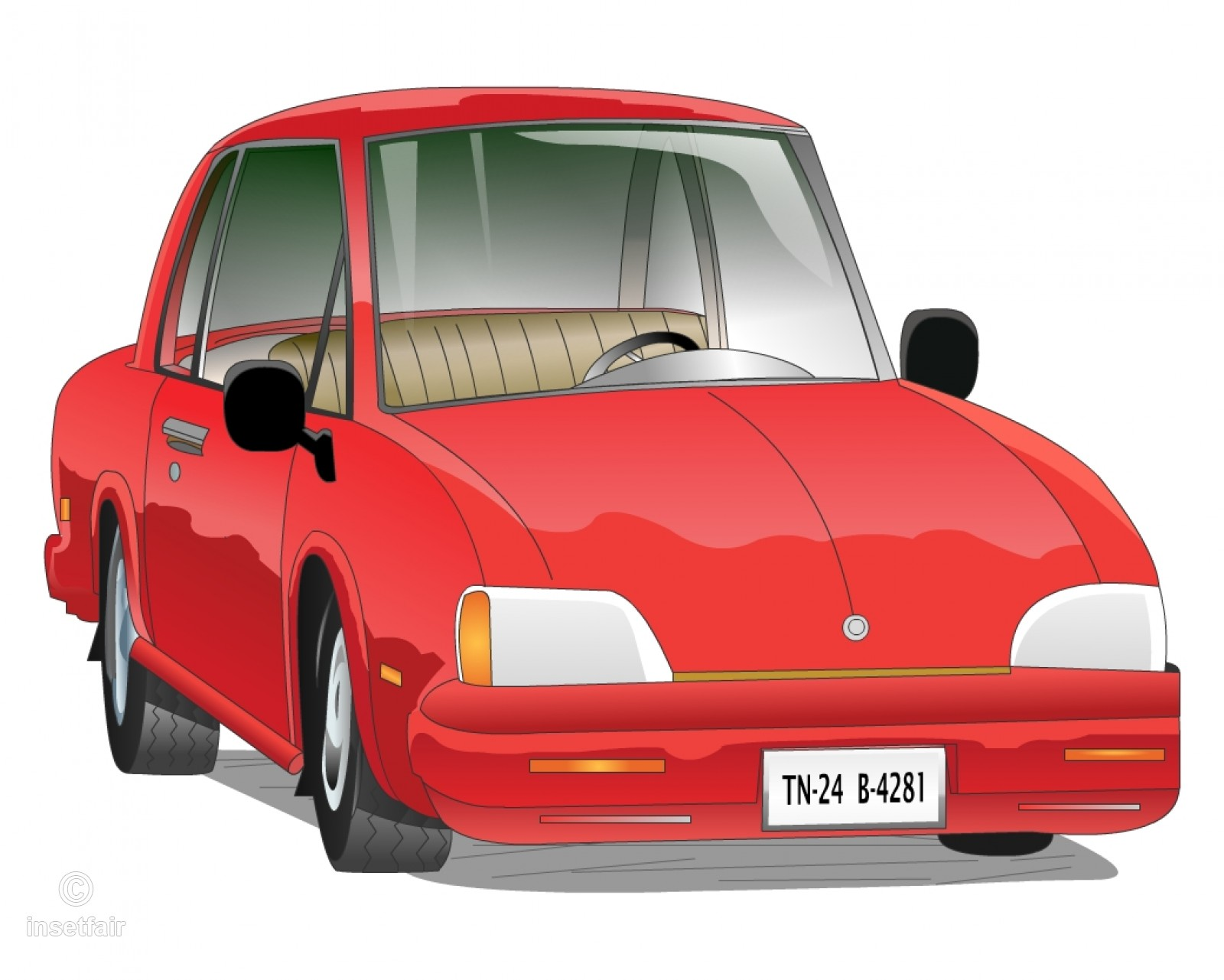 Classic cartoon vintage car vector png and jpg image.