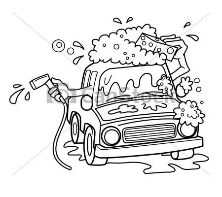 Clip Art Vector of car wash cartoon vector illustration.