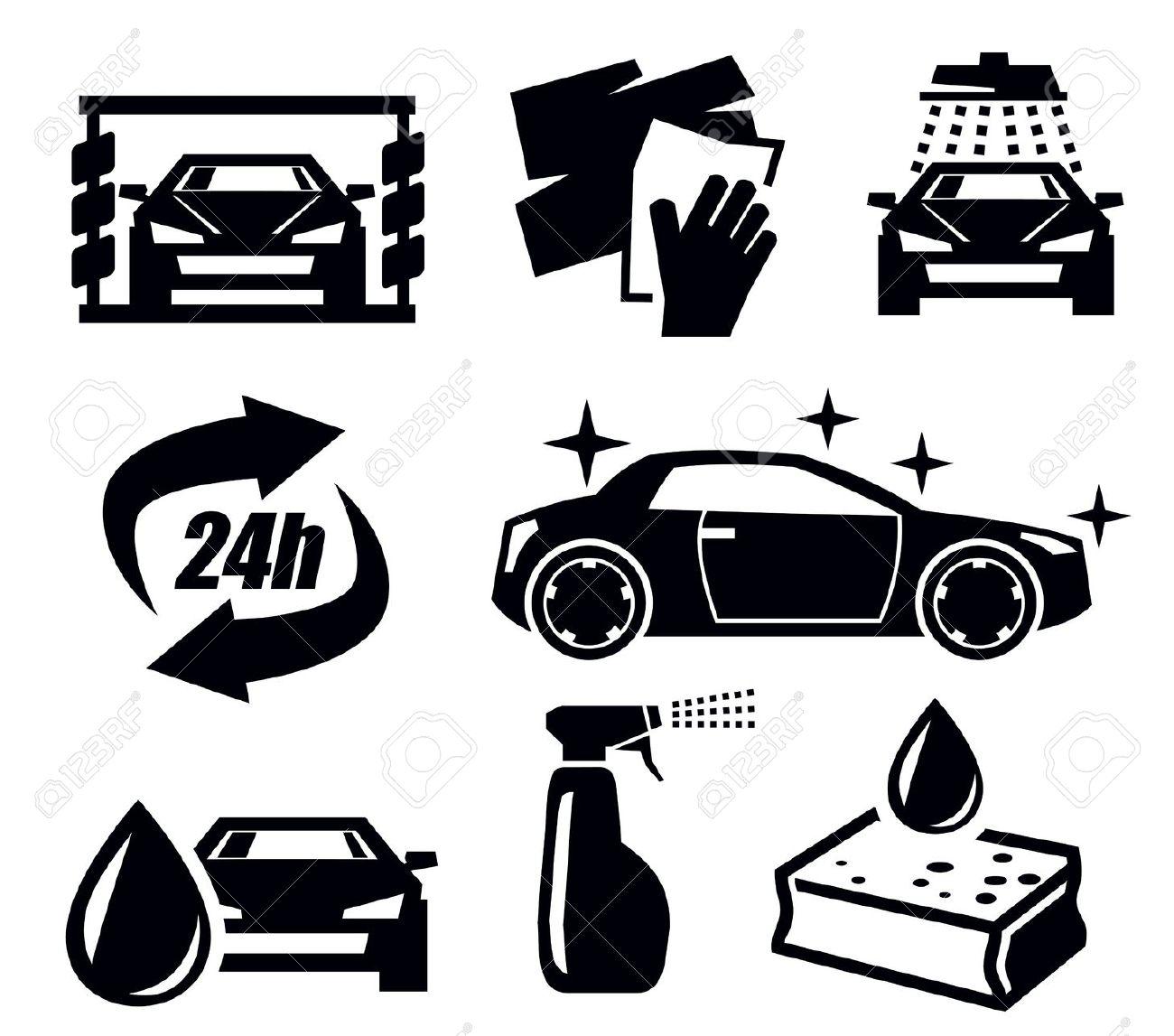 Car Wash Attendant Clipart Black White.