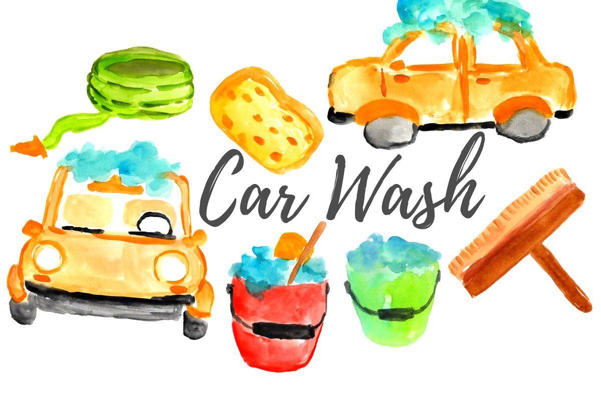 Watercolor Car Wash Clipart.
