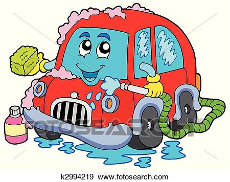 Cartoon car wash Clip Art.