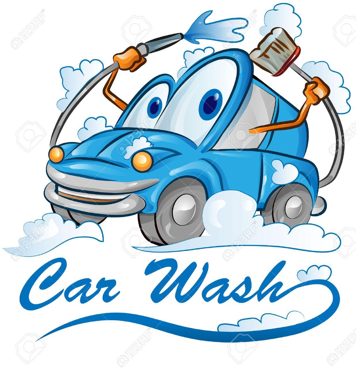 car wash cartoon isolated on white.