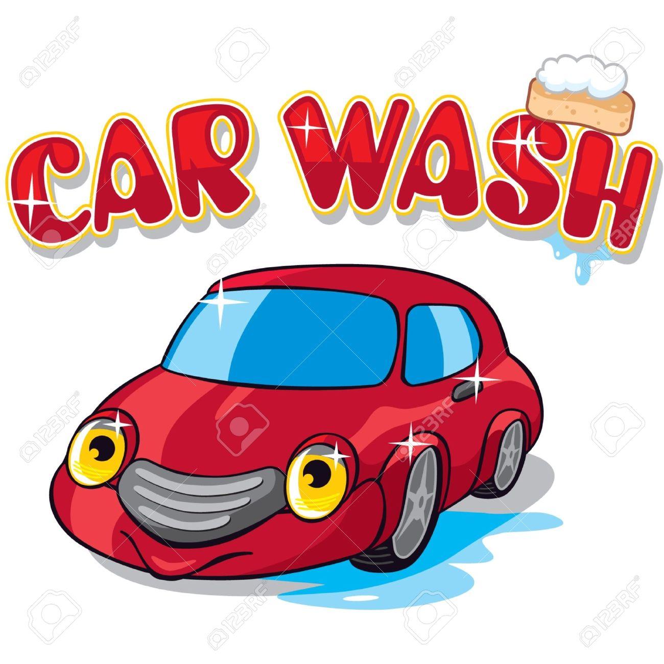 Cartoon Car with Car Wash Sign.