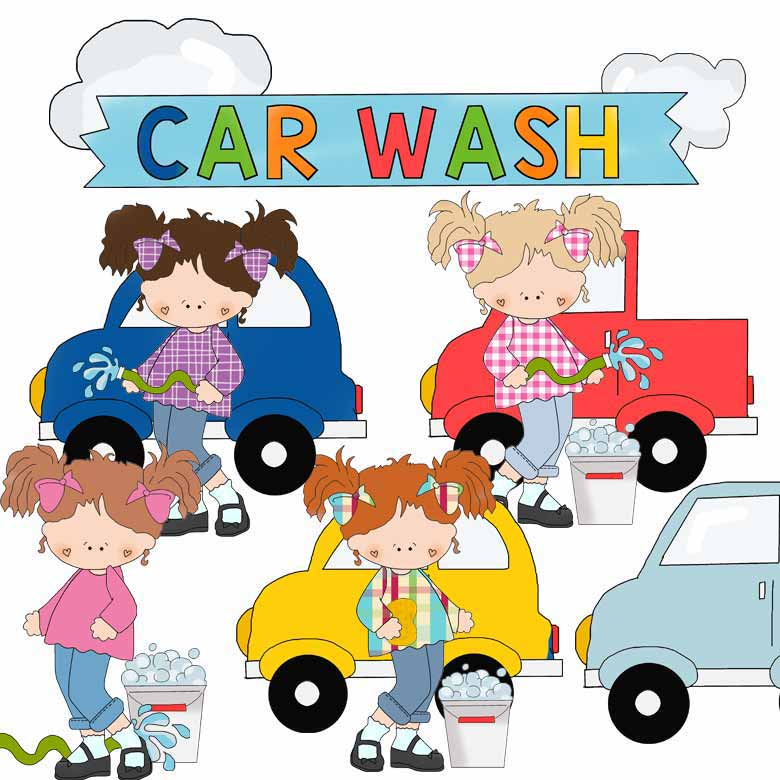 Girls at the Car Wash Clip Art.