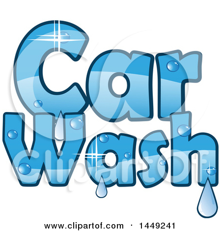 Clipart Graphic of a Sparkly Blue Car Wash Design with Water Drops.