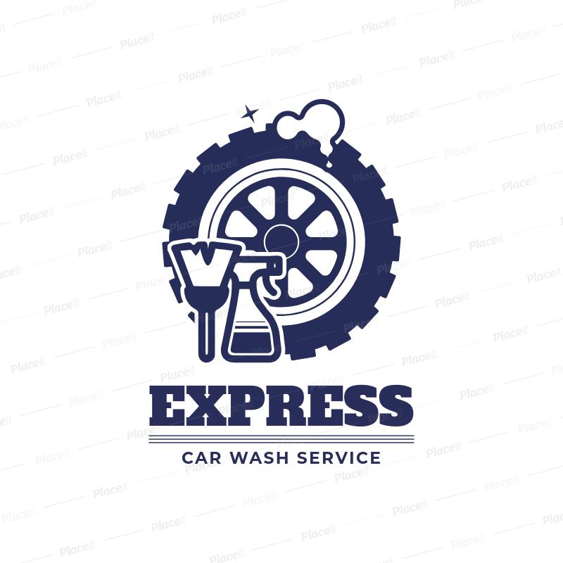 Express Car Wash Logo Maker 1753.