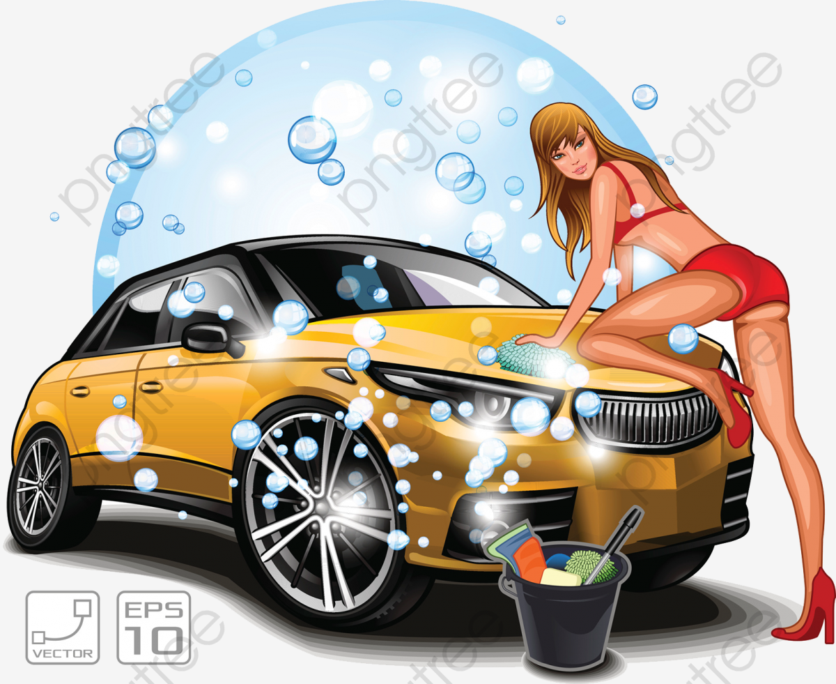 Beauty Car Wash, Rinse, Cleaning Tools PNG Transparent Clipart Image.