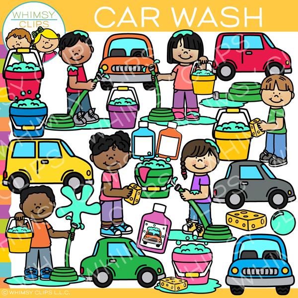 Kids Washing Cars Clip Art.