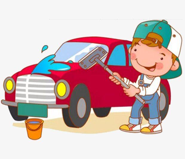 a boy in a car wash.