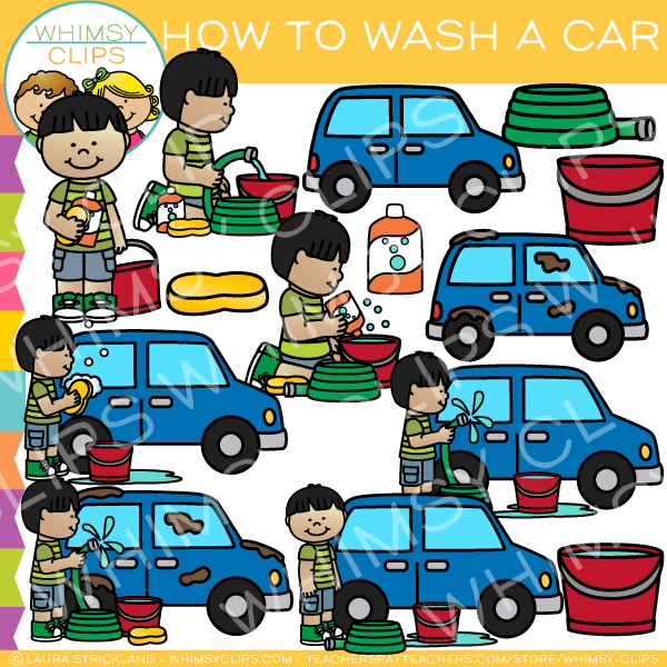 How to Wash a Car Clip Art.