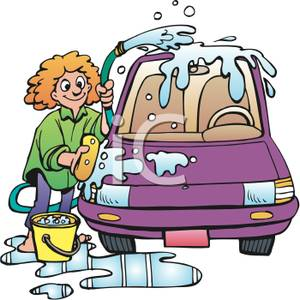 Kids Washing A Car Clipart.
