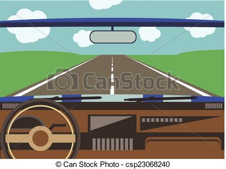 EPS Vector of driver's view from a car window to the road.