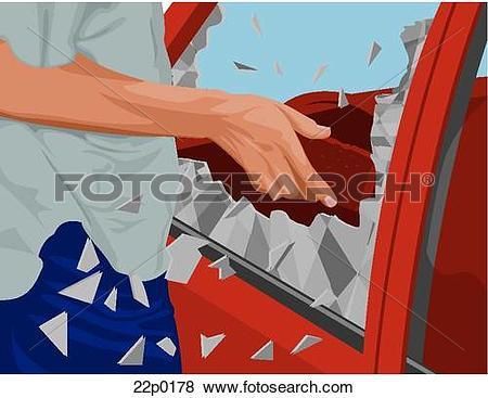 Clip Art of breaking car window 22p0178.