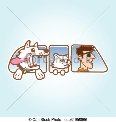 Clip Art Vector of Dog ,cat and man in car window.