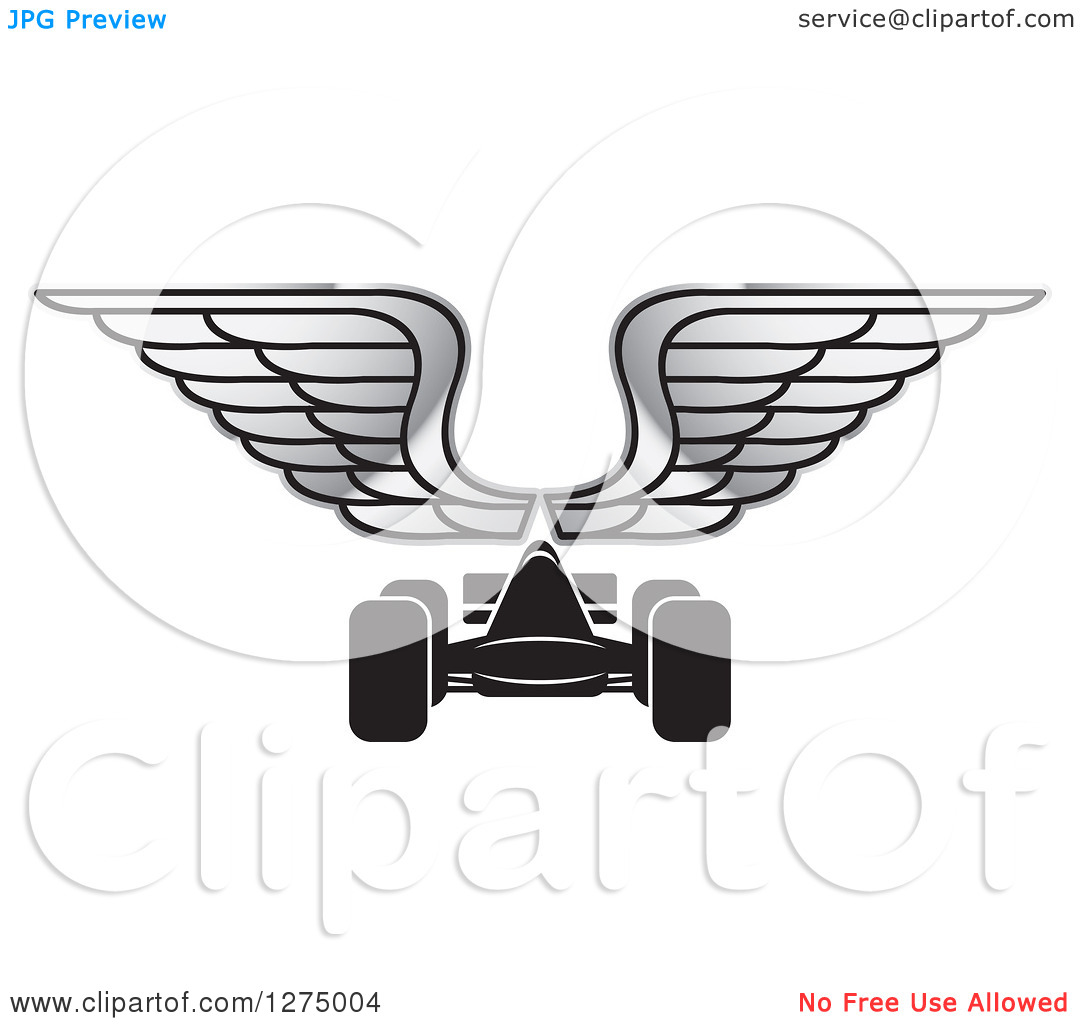 Clipart of a Black Race Car and Silver Wings.