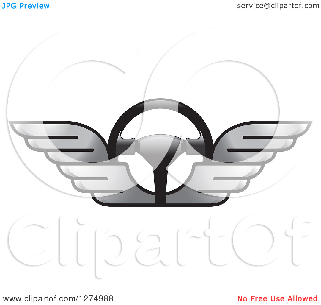 Clipart of a Race Car Steering Wheel with Silver Wings.