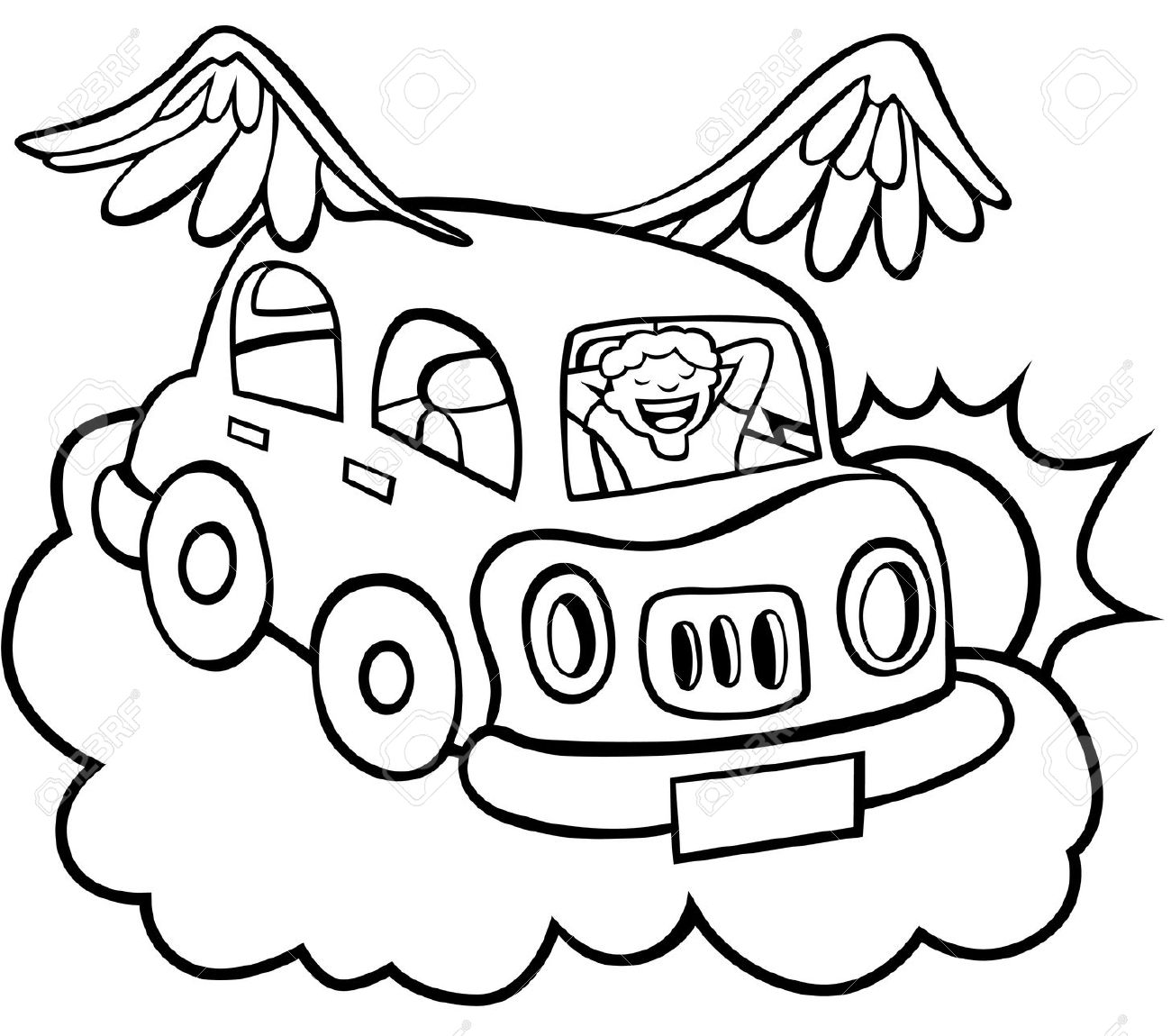 Flying car wings clipart.