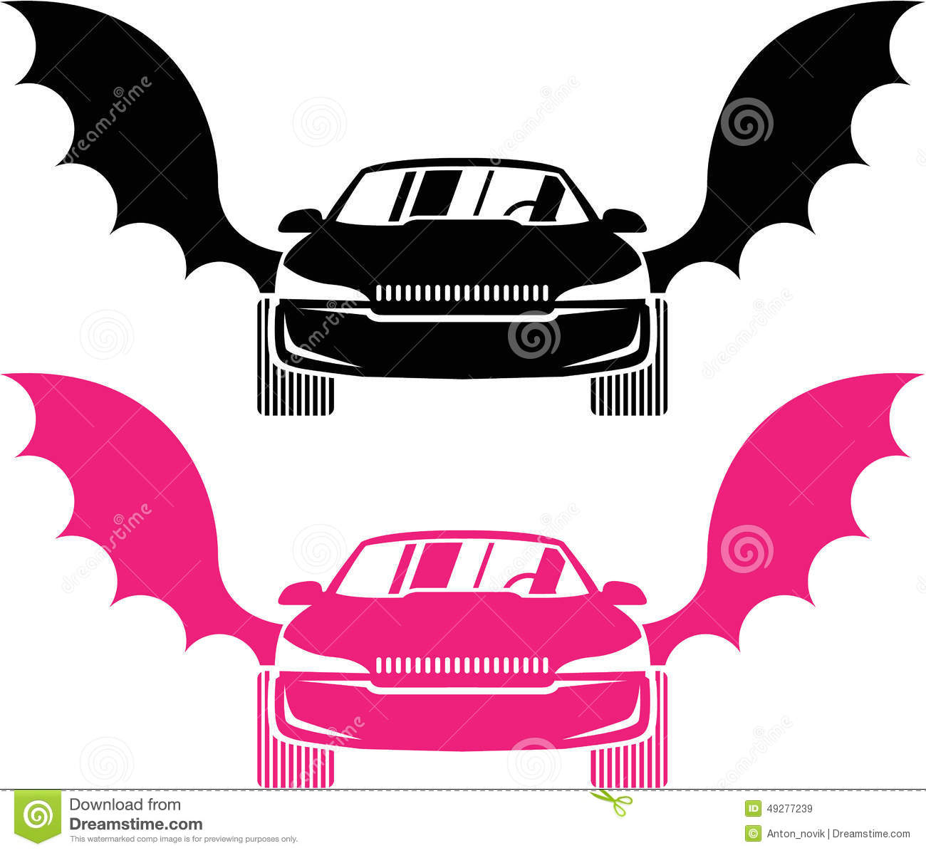 Car With Wings Stock Vector.