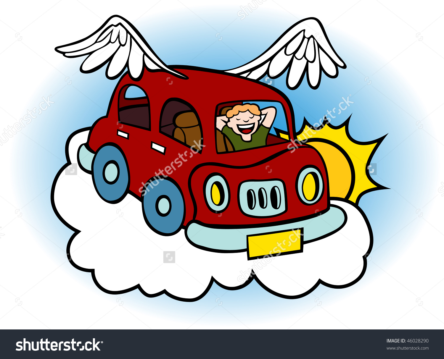 Car with wings clipart.