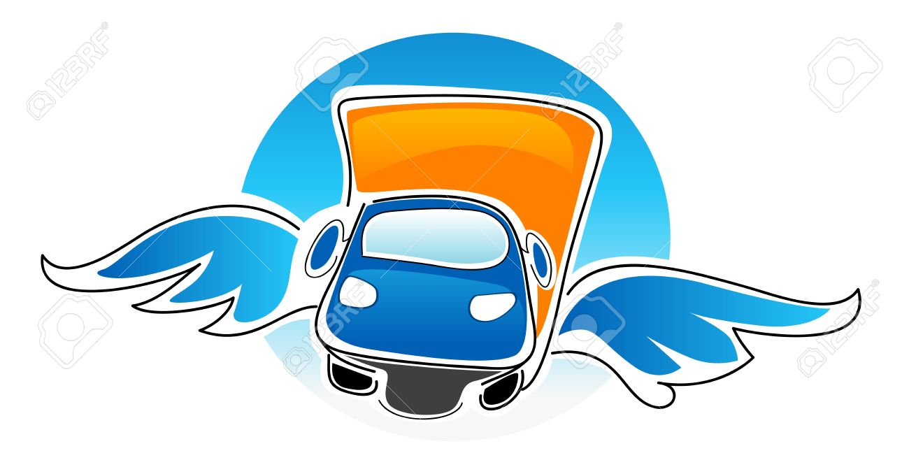 Cartoon Illustration Of Car With Wings Royalty Free Cliparts.