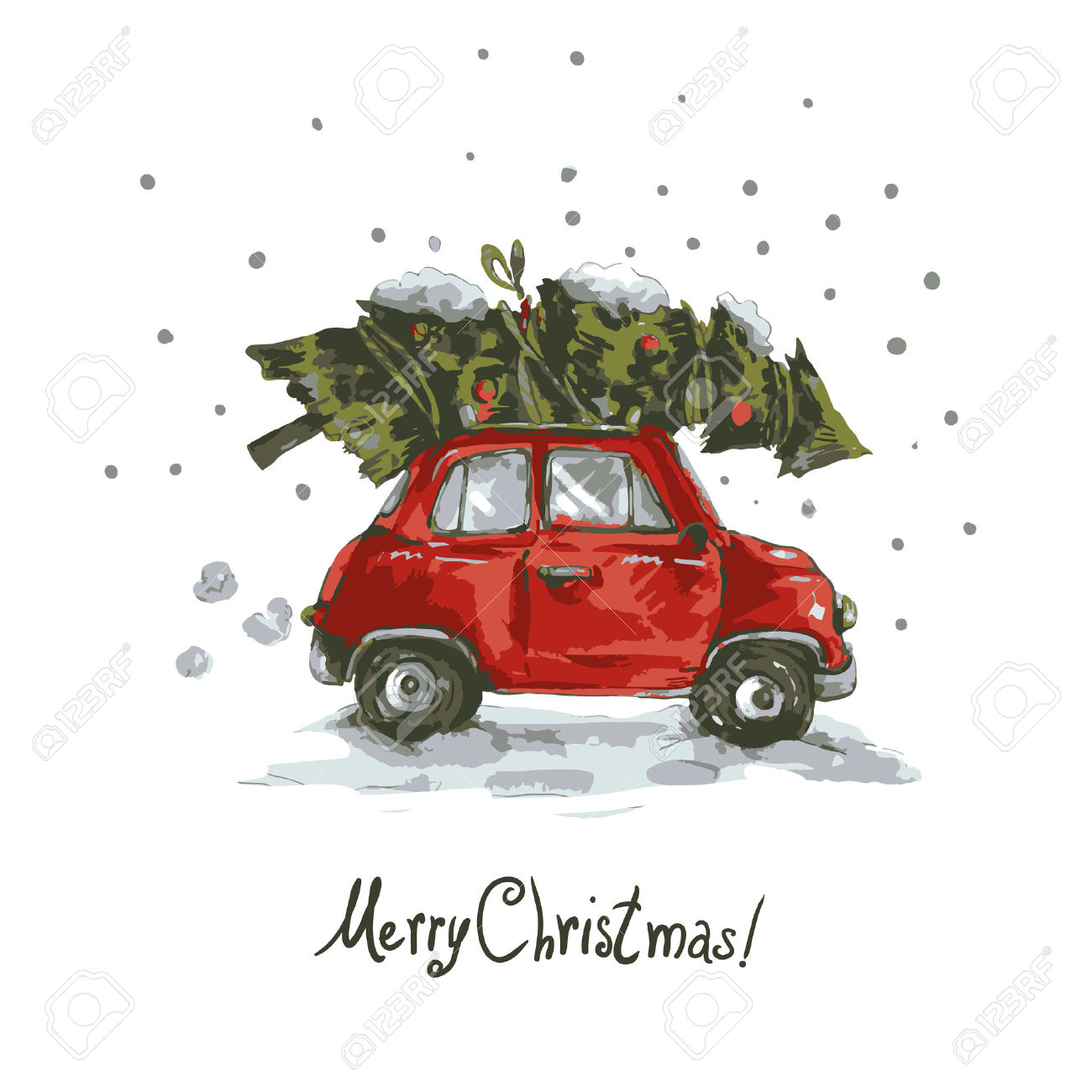Winter Greeting Card With Red Retro Car, Christmas Tree, Vintage.