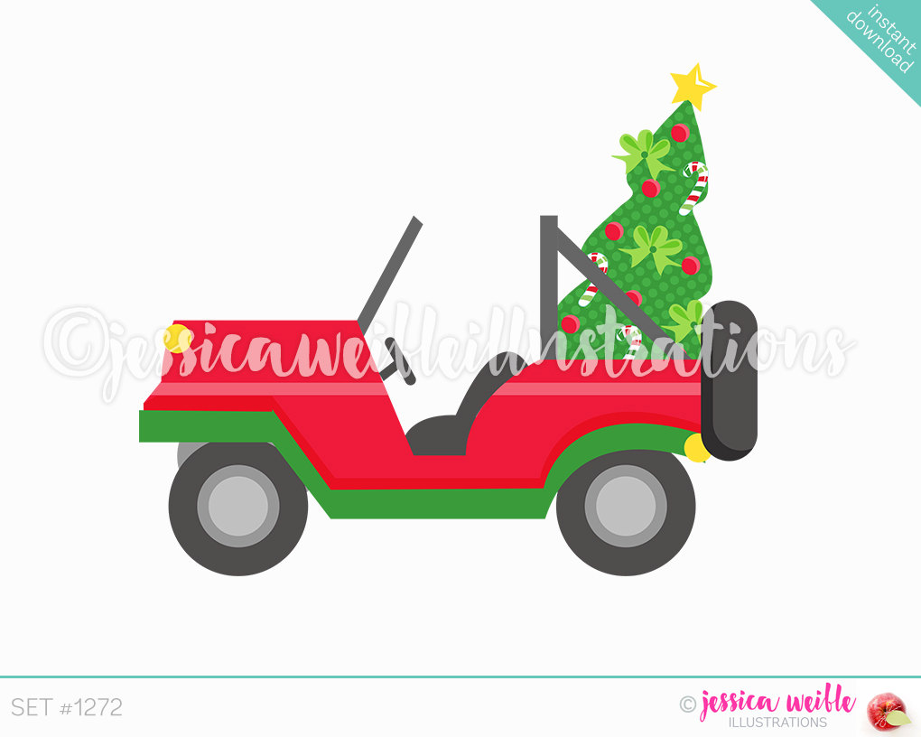 car with christmas tree clipart - Clipground