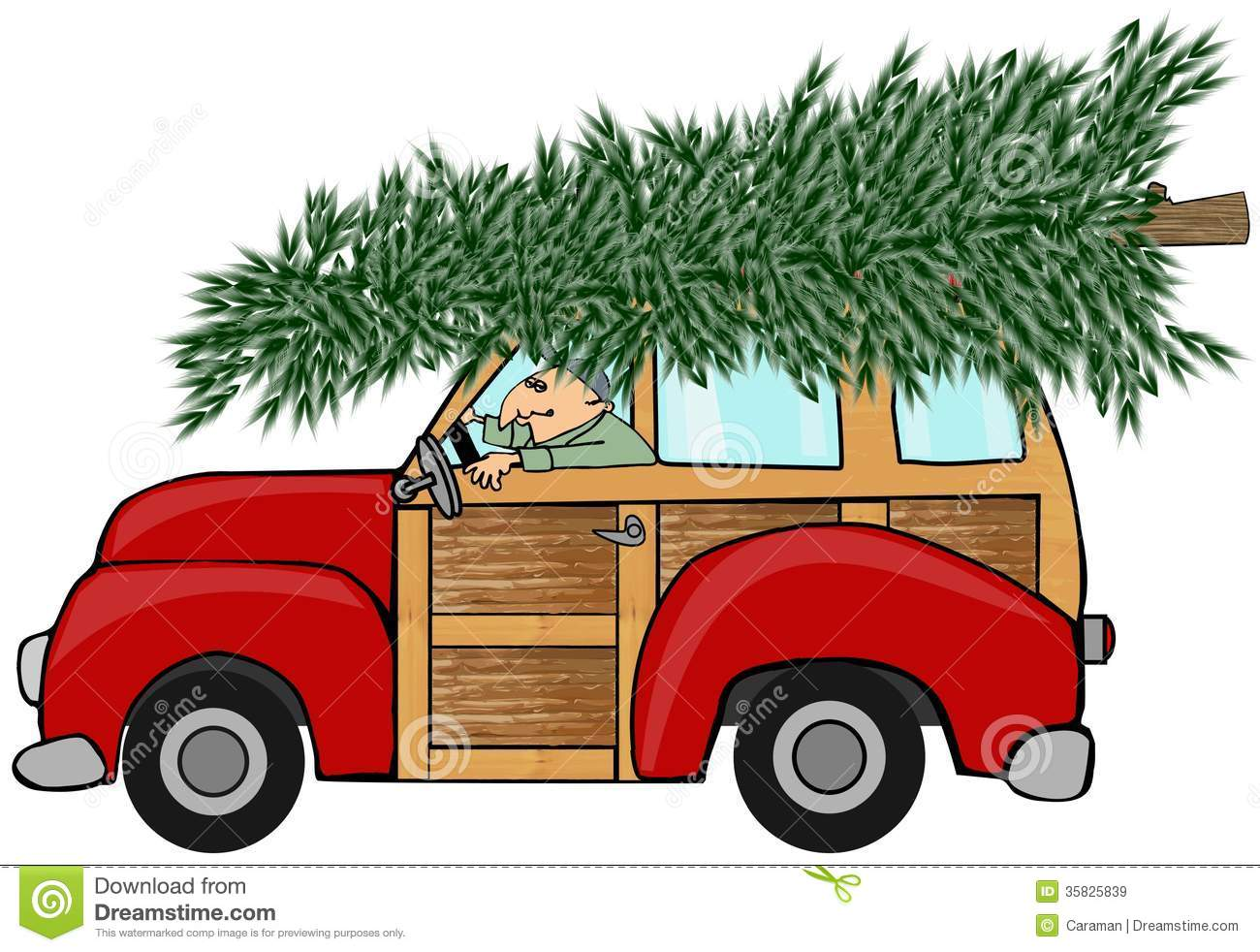 Christmas Tree On Top Of Car Clipart.