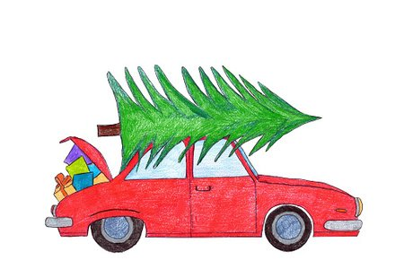 Red car with Christmas tree on top Clipart Image.