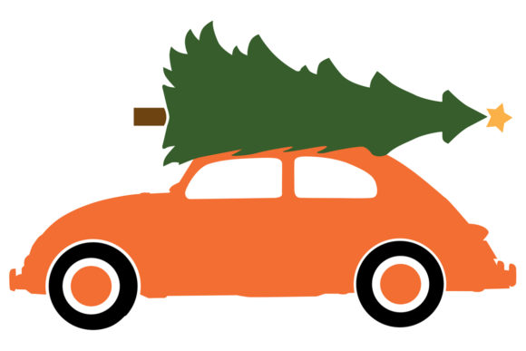 Compact Car with a Christmas Tree (Graphic) by.