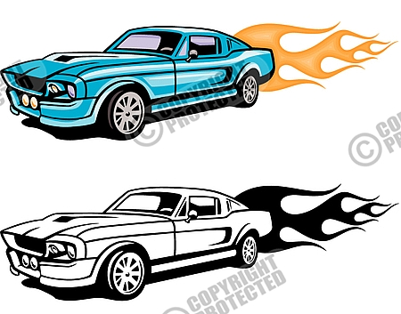 Car With Flames Clipart.