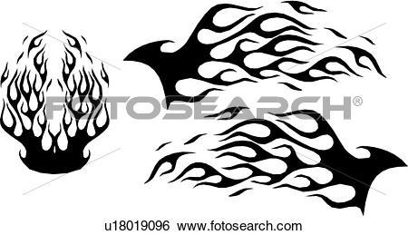Clip Art of flame, flames, car, automobile, auto, vehicle, graphic.