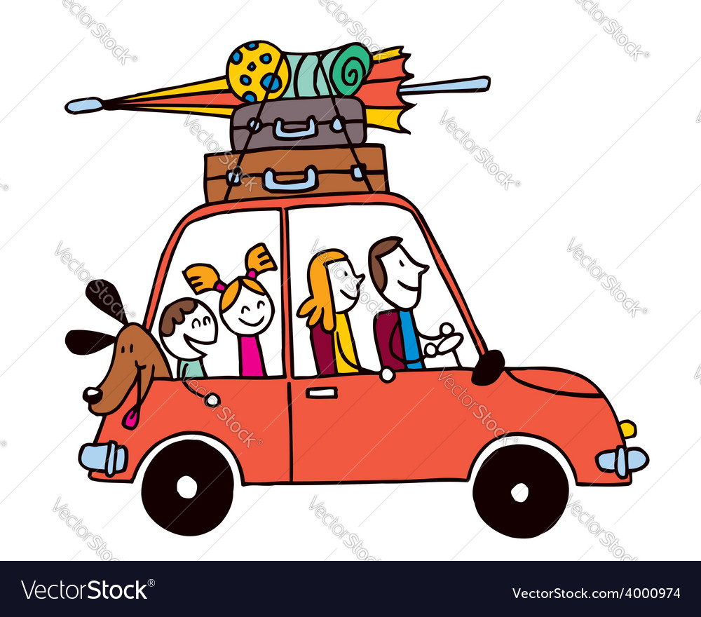 Family of four vacation Car with luggage travel.