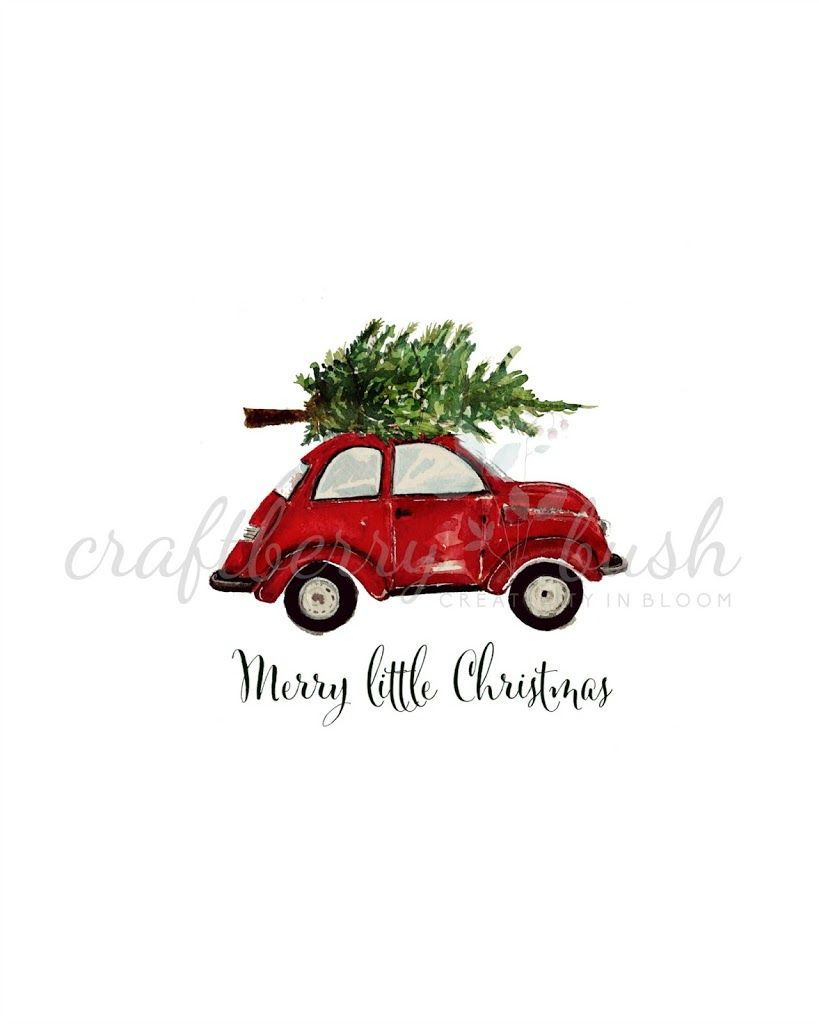 This adorable red car with tree tied to the top free printable is.