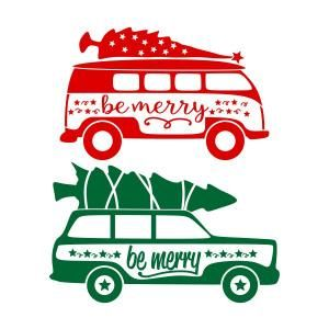 Christmas Tree on Top Station Wagon SVG Cuttable Design.