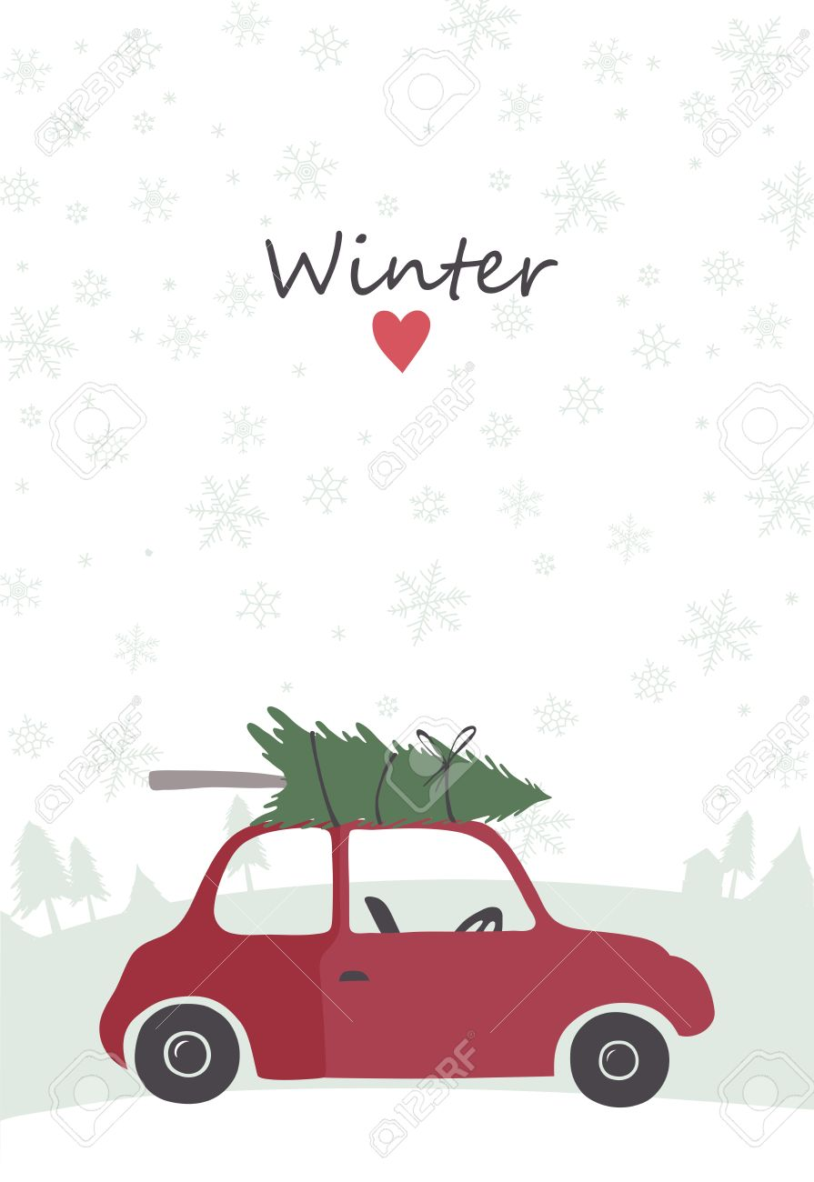 Christmas illustration of retro red car with tree on the top.