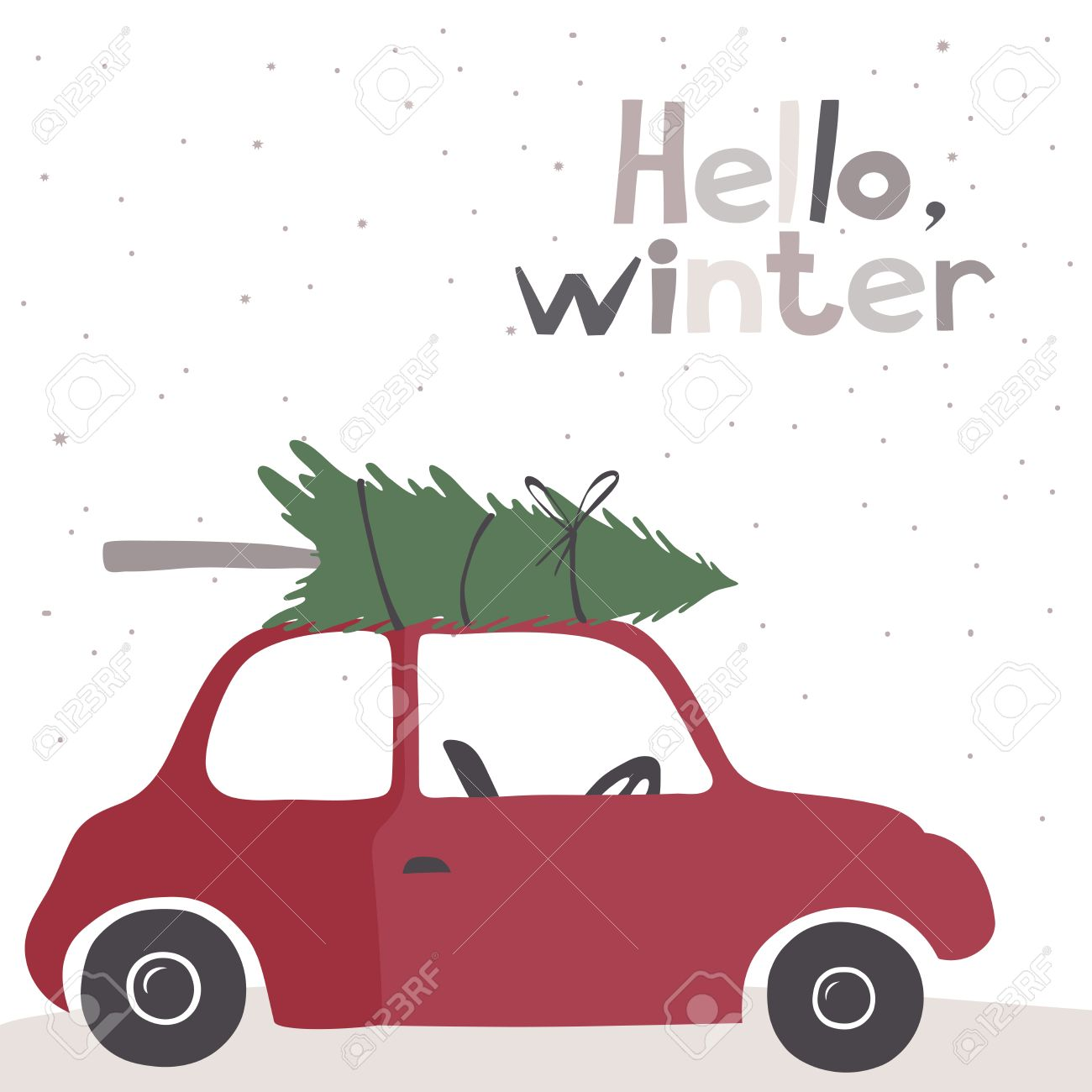 Winter vector card with a little red vintage car carrying a Christmas...