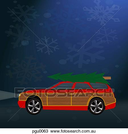 Car with christmas tree on top Drawing.