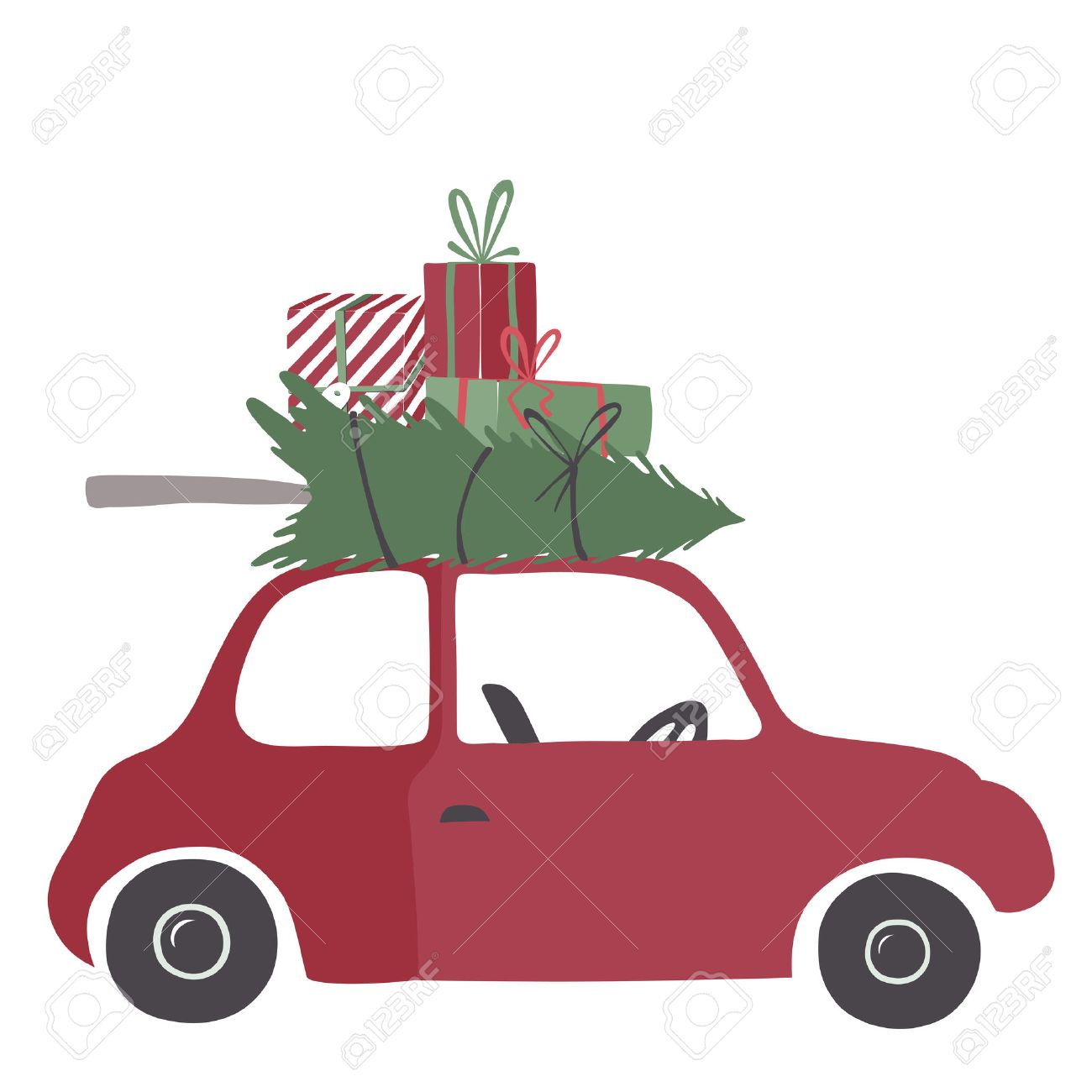 Spesial christmas delivery vector Illustration. Small red car...