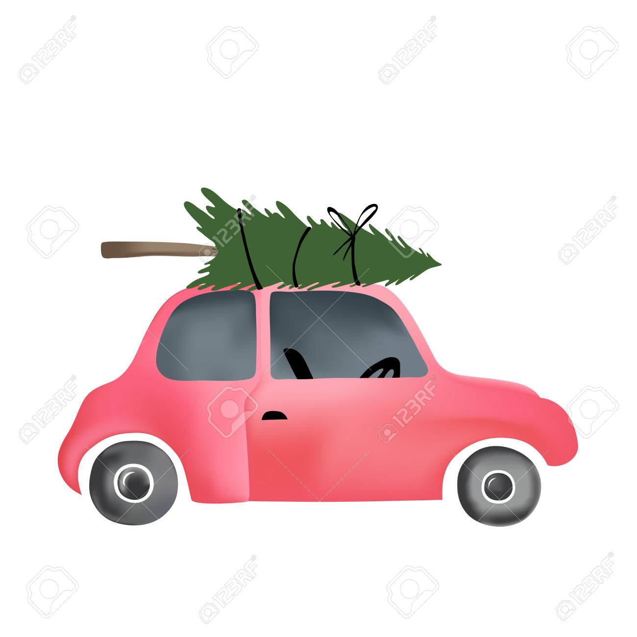 Cartoon vector illustration of small red vintage car and christmas...