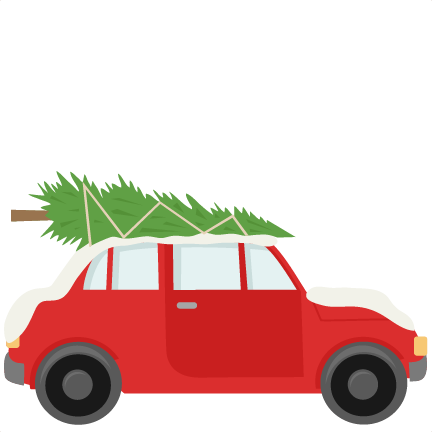 Car With Christmas Tree On Top Clipart.