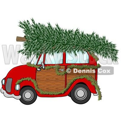 Christmas trees on top of cars or sleds.